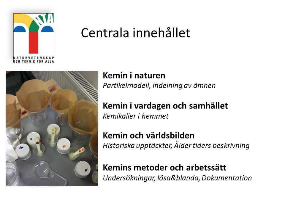 Centrala innehållet Kemin i naturen Partikelmodell, indelning av ämnen Kemin i vardagen och samhället Kemikalier i hemmet Kemin och världsbilden Histo