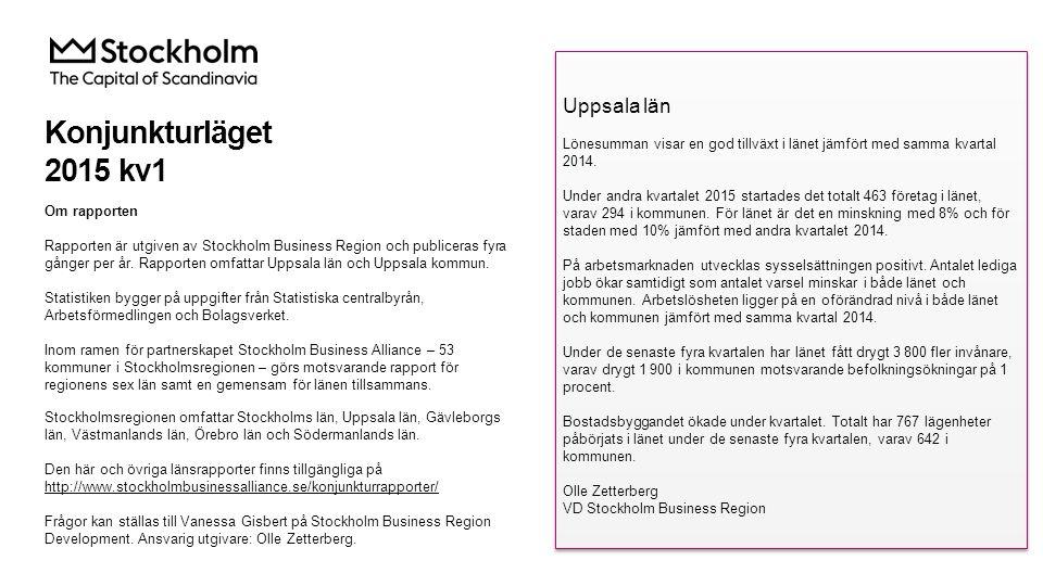Konjunkturläget 2015 kv1 Om rapporten Rapporten är utgiven av Stockholm Business Region och publiceras fyra gånger per år.