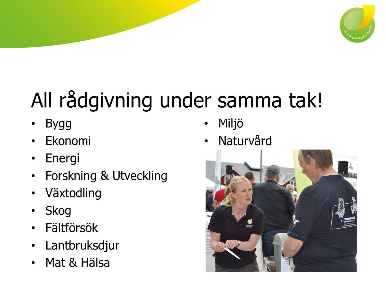 All rådgivning under samma tak! Bygg Ekonomi Energi Forskning & Utveckling Växtodling Skog Fältförsök Lantbruksdjur Mat & Hälsa Miljö Naturvård