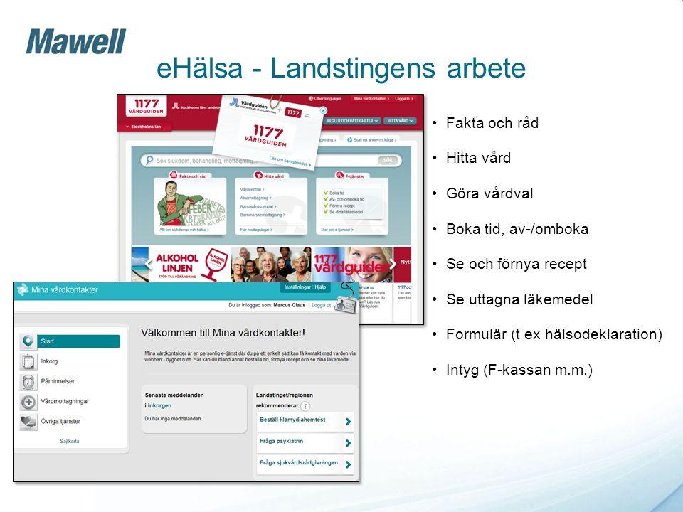 Mitt Vårdflöde/Vårdhändelser Visualisering Tidslinje Översikter Detaljer eHälsa - Landstingens arbete