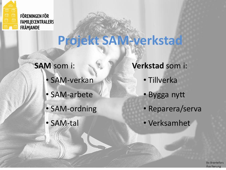 Bo Brantefors Åsa Ranung SAM som i: SAM-verkan SAM-arbete SAM-ordning SAM-tal Projekt SAM-verkstad Verkstad som i: Tillverka Bygga nytt Reparera/serva