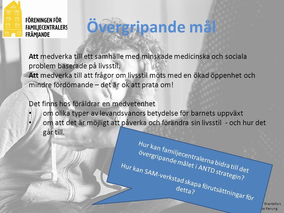 Bo Brantefors Åsa Ranung Att medverka till ett samhälle med minskade medicinska och sociala problem baserade på livsstil. Att medverka till att frågor