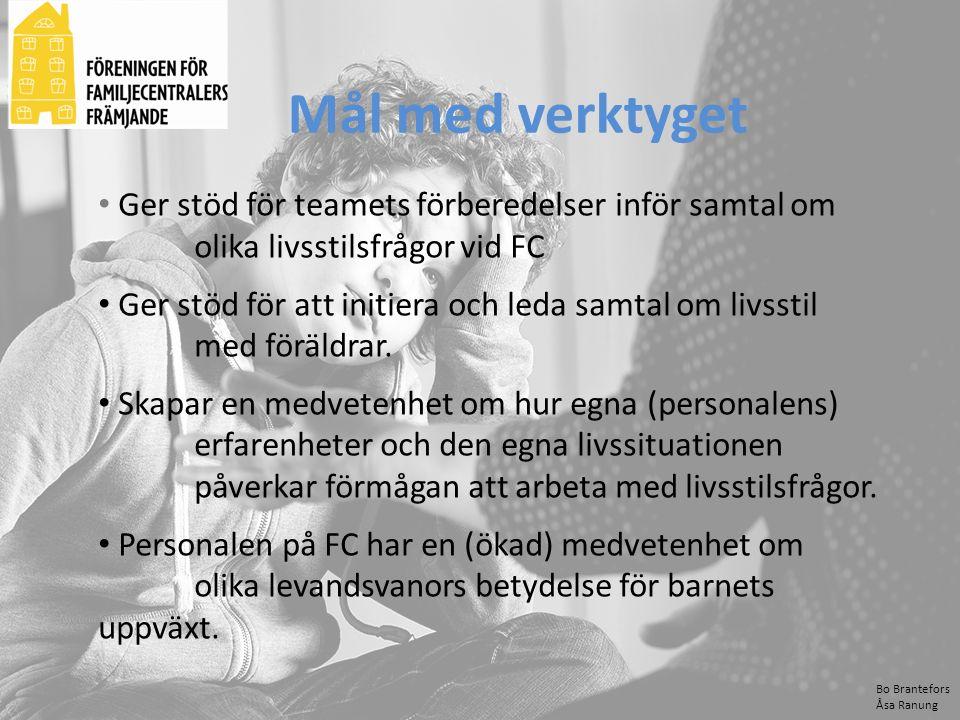 Bo Brantefors Åsa Ranung Ger stöd för teamets förberedelser inför samtal om olika livsstilsfrågor vid FC Ger stöd för att initiera och leda samtal om