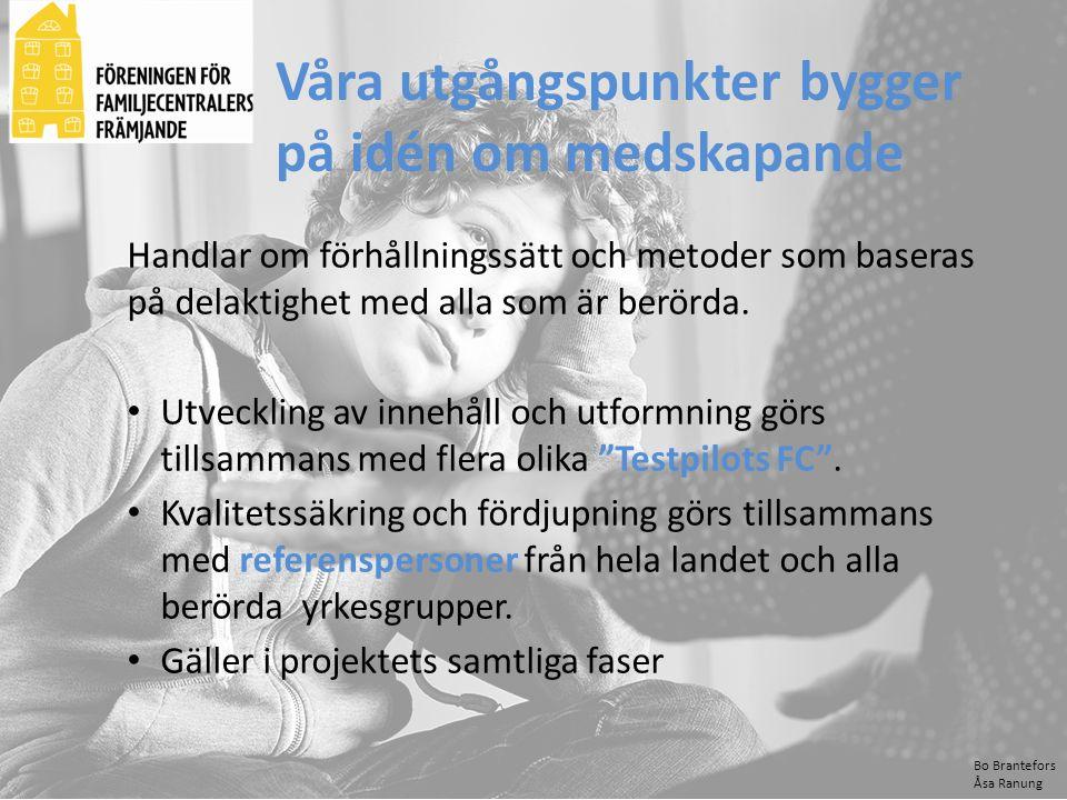 Bo Brantefors Åsa Ranung Våra utgångspunkter bygger på idén om medskapande Handlar om förhållningssätt och metoder som baseras på delaktighet med alla