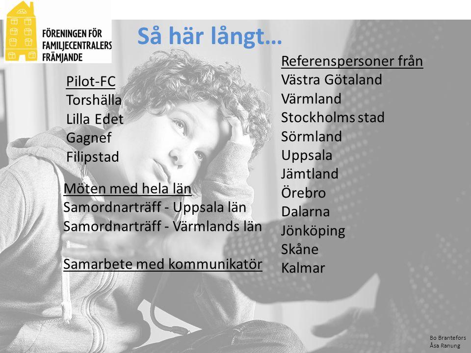 Bo Brantefors Åsa Ranung Så här långt… Pilot-FC Torshälla Lilla Edet Gagnef Filipstad Möten med hela län Samordnarträff - Uppsala län Samordnarträff -