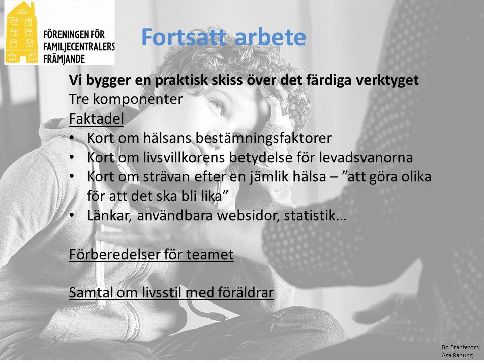 Bo Brantefors Åsa Ranung Fortsatt arbete Vi bygger en praktisk skiss över det färdiga verktyget Tre komponenter Faktadel Kort om hälsans bestämningsfa