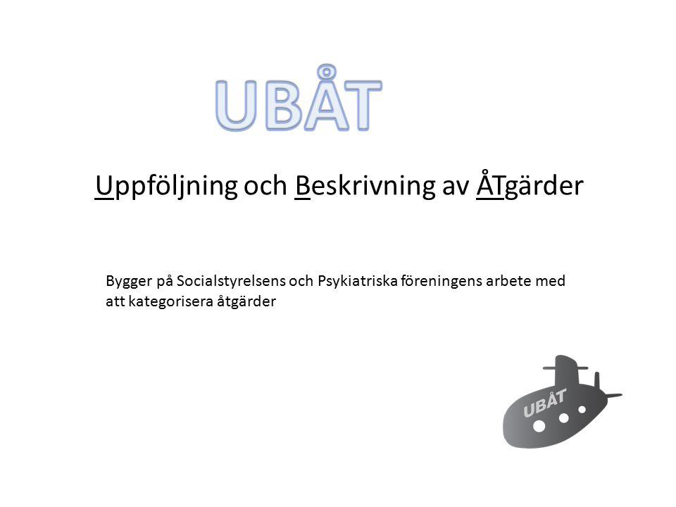 Uppföljning och Beskrivning av ÅTgärder Bygger på Socialstyrelsens och Psykiatriska föreningens arbete med att kategorisera åtgärder