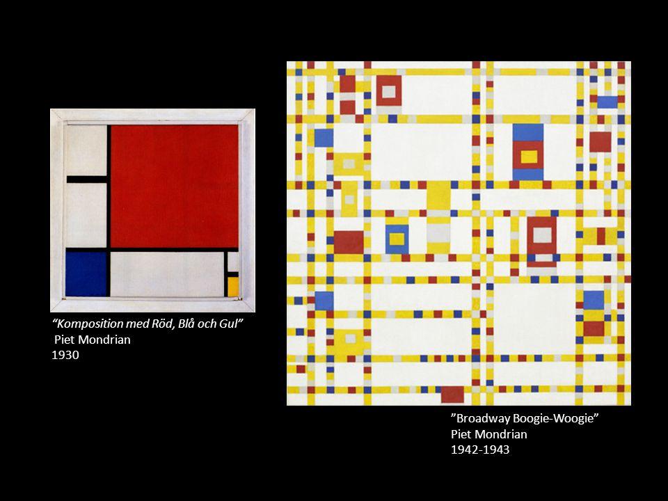 """""""Broadway Boogie-Woogie"""" Piet Mondrian 1942-1943 """"Komposition med Röd, Blå och Gul"""" Piet Mondrian 1930"""