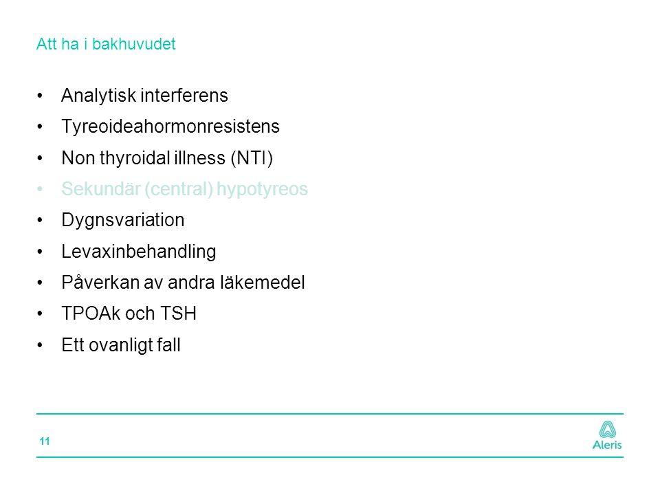 11 Att ha i bakhuvudet Analytisk interferens Tyreoideahormonresistens Non thyroidal illness (NTI) Sekundär (central) hypotyreos Dygnsvariation Levaxin