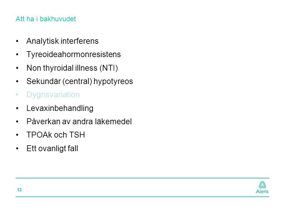 13 Att ha i bakhuvudet Analytisk interferens Tyreoideahormonresistens Non thyroidal illness (NTI) Sekundär (central) hypotyreos Dygnsvariation Levaxin