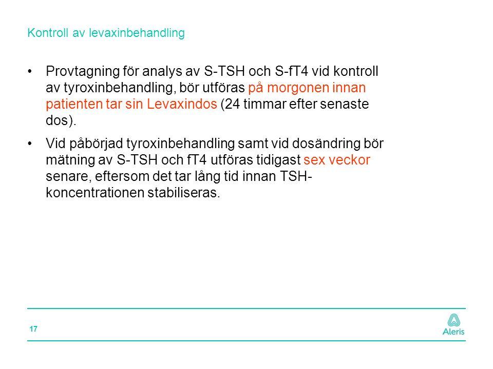 17 Provtagning för analys av S-TSH och S-fT4 vid kontroll av tyroxinbehandling, bör utföras på morgonen innan patienten tar sin Levaxindos (24 timmar