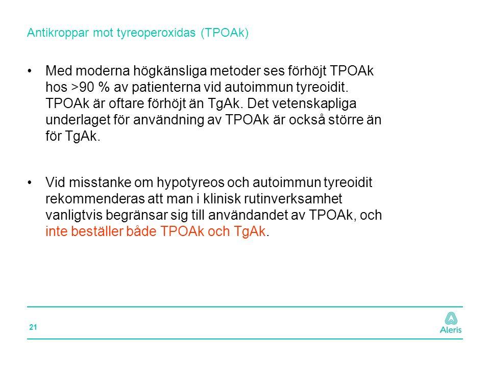 21 Antikroppar mot tyreoperoxidas (TPOAk) Med moderna högkänsliga metoder ses förhöjt TPOAk hos >90 % av patienterna vid autoimmun tyreoidit. TPOAk är