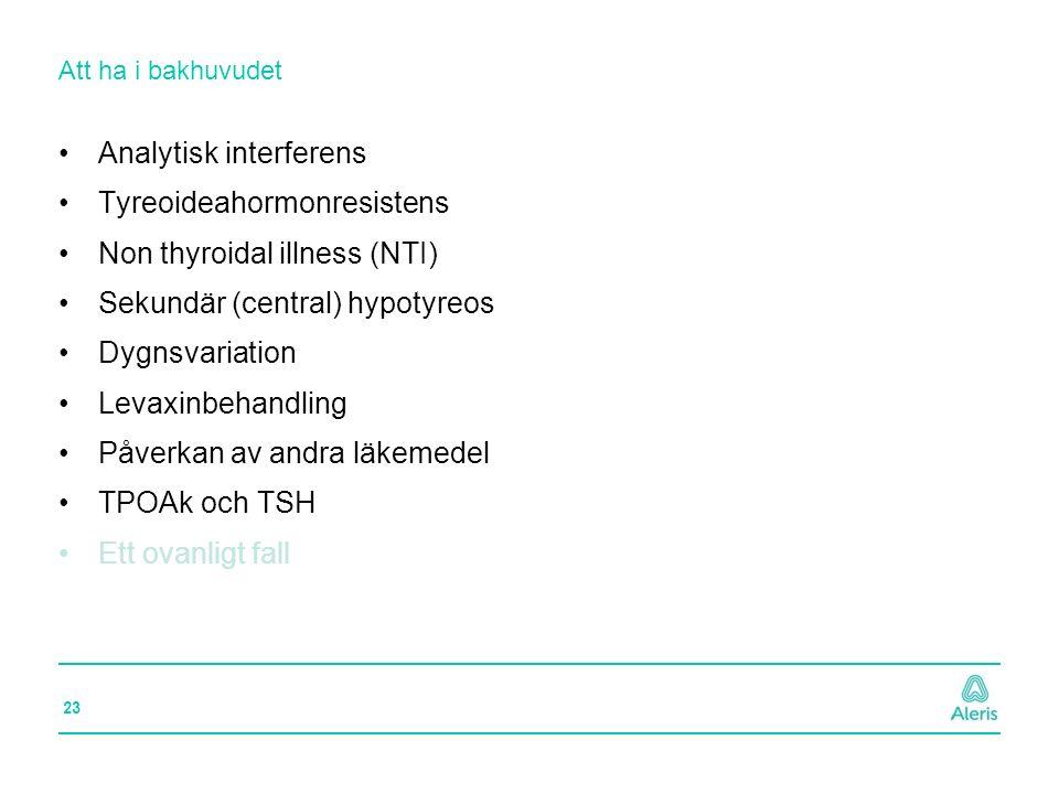 23 Att ha i bakhuvudet Analytisk interferens Tyreoideahormonresistens Non thyroidal illness (NTI) Sekundär (central) hypotyreos Dygnsvariation Levaxin