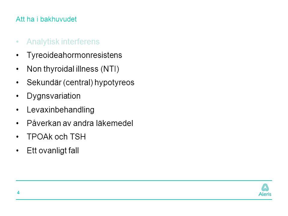 15 Att ha i bakhuvudet Analytisk interferens Tyreoideahormonresistens Non thyroidal illness (NTI) Sekundär (central) hypotyreos Dygnsvariation Levaxinbehandling Påverkan av andra läkemedel TPOAk och TSH Ett ovanligt fall