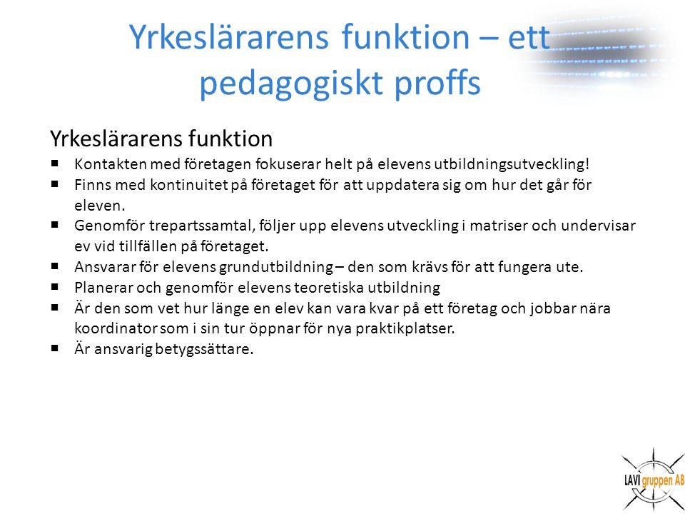 Yrkeslärarens funktion – ett pedagogiskt proffs Yrkeslärarens funktion  Kontakten med företagen fokuserar helt på elevens utbildningsutveckling.