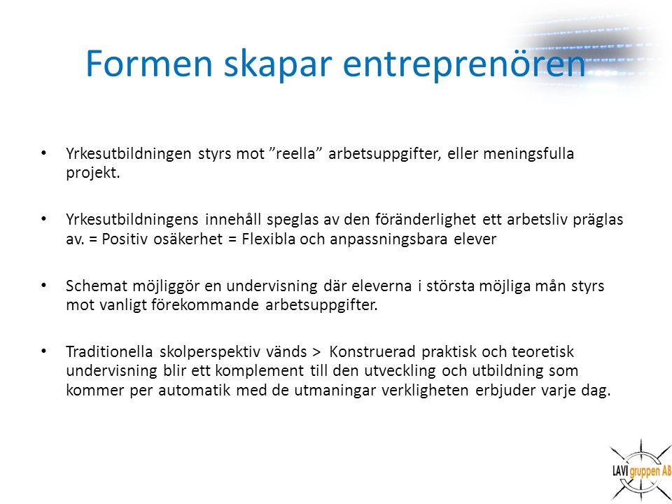 Formen skapar entreprenören Yrkesutbildningen styrs mot reella arbetsuppgifter, eller meningsfulla projekt.
