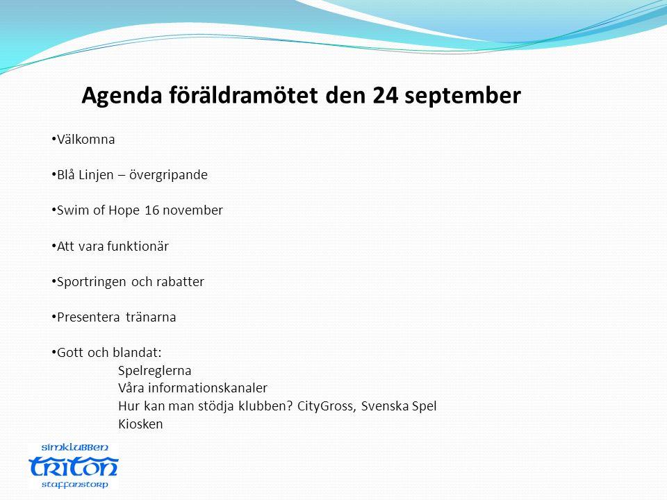 Agenda föräldramötet den 24 september Välkomna Blå Linjen – övergripande Swim of Hope 16 november Att vara funktionär Sportringen och rabatter Present