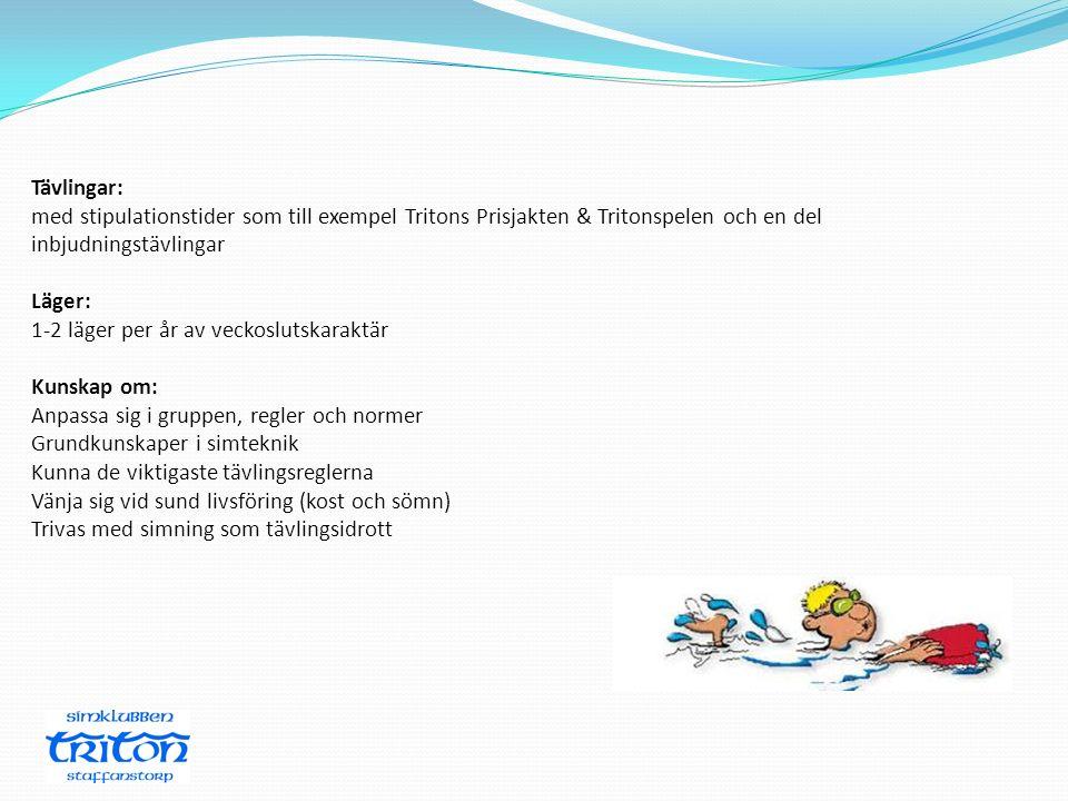 Tävlingar: med stipulationstider som till exempel Tritons Prisjakten & Tritonspelen och en del inbjudningstävlingar Läger: 1-2 läger per år av veckosl