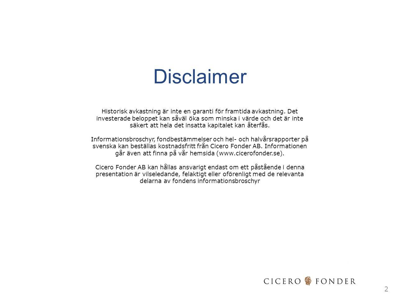 Löpande förvaltning Daglig övervakning av fondportföljen – finjusteringar till följd av eventuella in/utflöden Månadsvis portföljgenomgång  Översyn räntepapper  Rullning av future (var tredje månad) Säljdisciplin/omprövning räntepapper (exempel):  När bolaget väsentligt ökar skuldsättningen  När bolagets vinsttillväxt och övriga utveckling inte motsvarar våra förväntningar  Generellt svag utveckling för den bransch i vilken bolaget är verksamt  När bolaget genomför förvärv/fusion som väsentligt påverkar kassa, kassaflöde och skuldsättning negativt  När bolagsledningen förändras påtagligt och osäkerheten därmed ökar  När värderingen av räntepapperet ej längre är attraktivt relativt andra placeringsalternativ 13 Vem som helst kan fela, men endast den dumme framhärdar i sitt fel