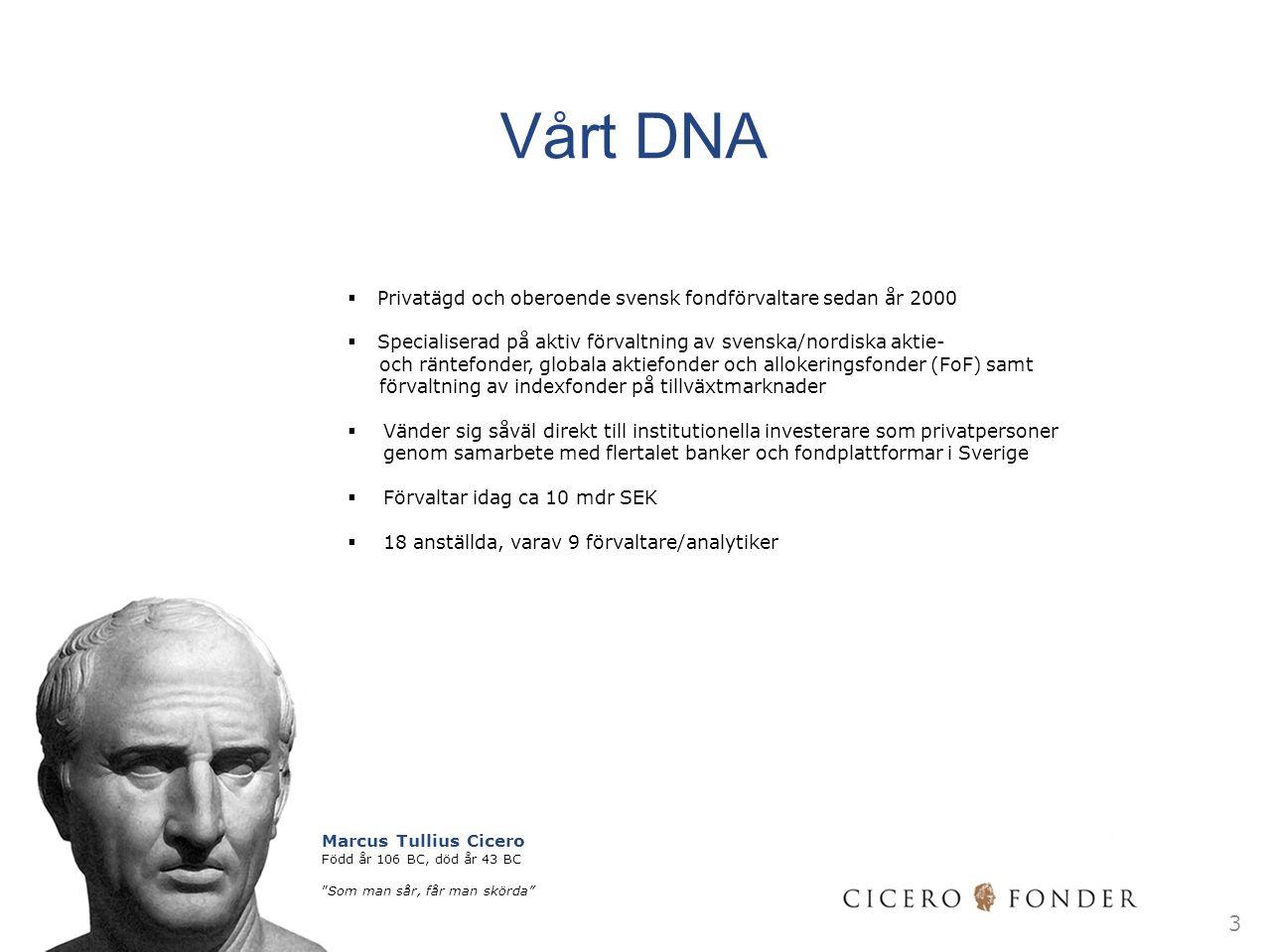 Vårt DNA  Privatägd och oberoende svensk fondförvaltare sedan år 2000  Specialiserad på aktiv förvaltning av svenska/nordiska aktie- och räntefonder, globala aktiefonder och allokeringsfonder (FoF) samt förvaltning av indexfonder på tillväxtmarknader  Vänder sig såväl direkt till institutionella investerare som privatpersoner genom samarbete med flertalet banker och fondplattformar i Sverige  Förvaltar idag ca 10 mdr SEK  18 anställda, varav 9 förvaltare/analytiker 3 Marcus Tullius Cicero Född år 106 BC, död år 43 BC Som man sår, får man skörda