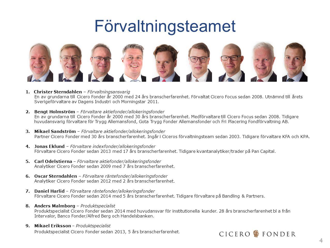 Förvaltningsteamet 1.Christer Sterndahlen – Förvaltningsansvarig En av grundarna till Cicero Fonder år 2000 med 24 års branscherfarenhet. Förvaltat Ci