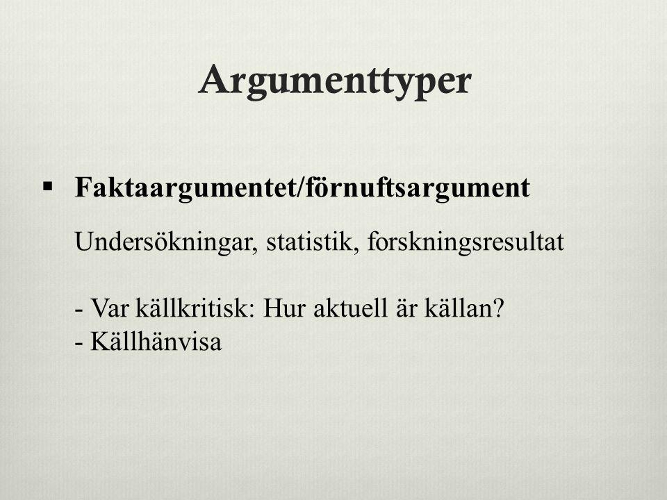 Argumenttyper  Faktaargumentet/förnuftsargument Undersökningar, statistik, forskningsresultat - Var källkritisk: Hur aktuell är källan? - Källhänvisa