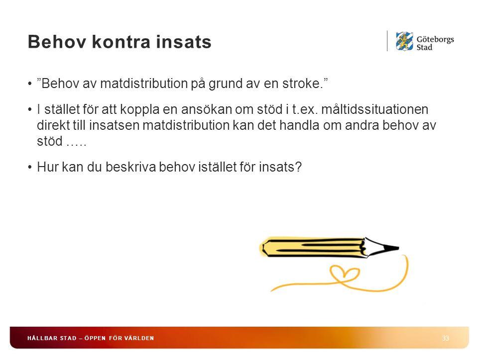 """Behov kontra insats 33 HÅLLBAR STAD – ÖPPEN FÖR VÄRLDEN """"Behov av matdistribution på grund av en stroke."""" I stället för att koppla en ansökan om stöd"""