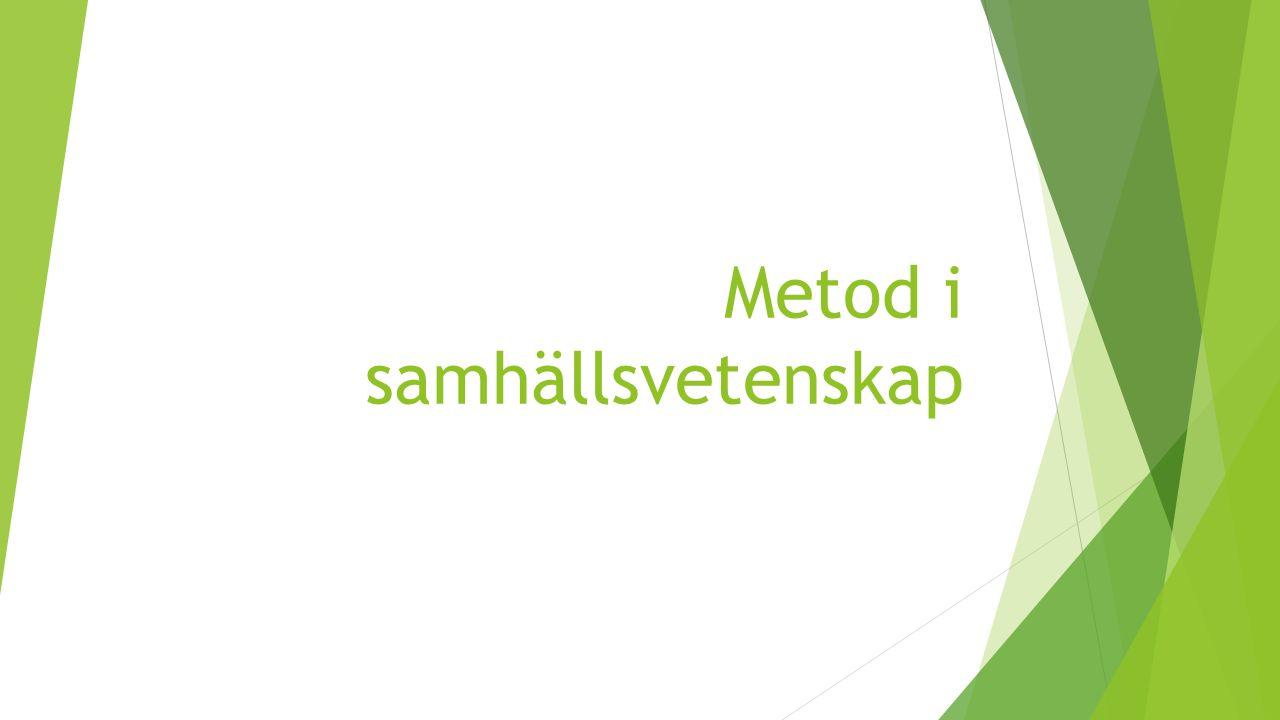 Metod i samhällsvetenskap