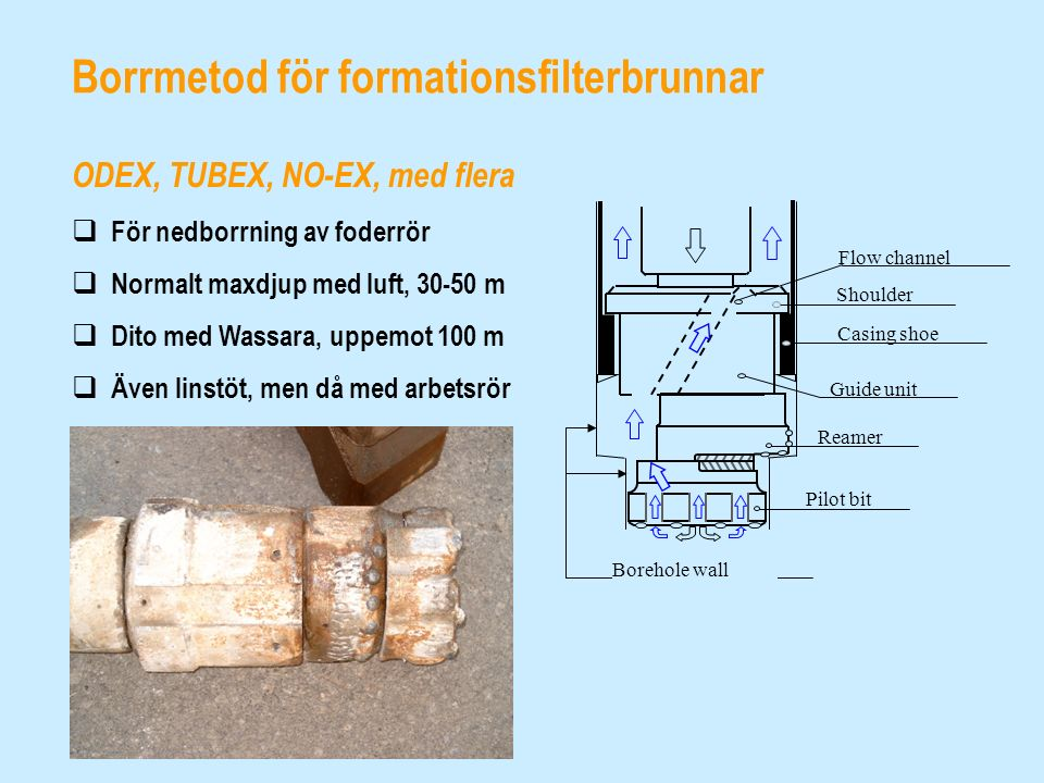Borrmetod för formationsfilterbrunnar ODEX, TUBEX, NO-EX, med flera  För nedborrning av foderrör  Normalt maxdjup med luft, 30-50 m  Dito med Wassa