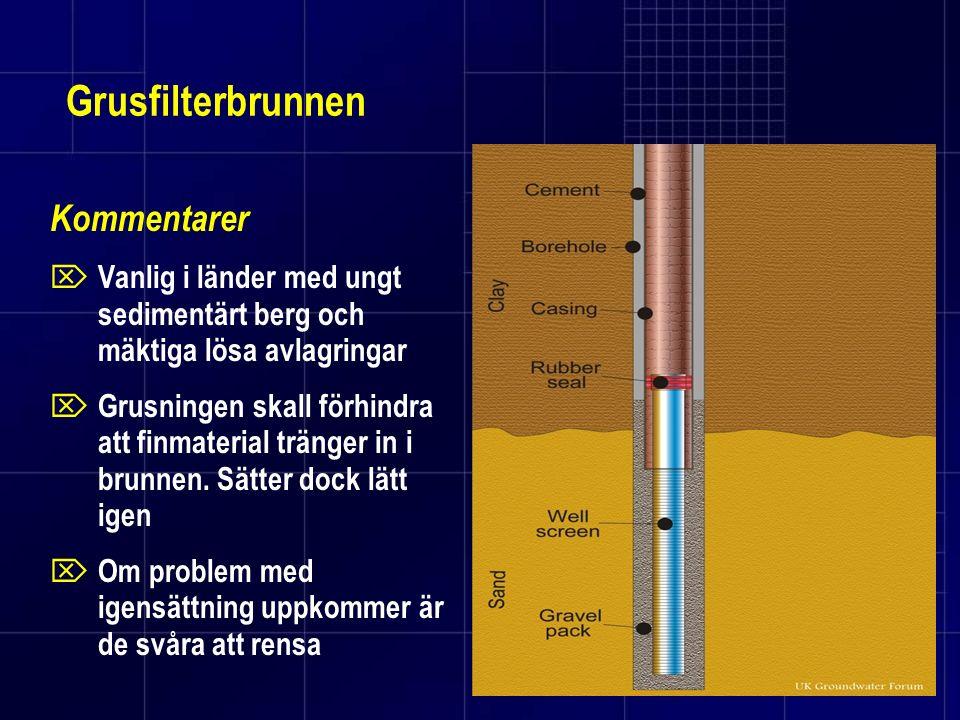 Grusfilterbrunnen Kommentarer  Vanlig i länder med ungt sedimentärt berg och mäktiga lösa avlagringar  Grusningen skall förhindra att finmaterial tr