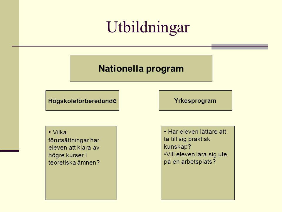 Utbildningar Nationella program Högskoleförberedand e Yrkesprogram Vilka förutsättningar har eleven att klara av högre kurser i teoretiska ämnen? Har