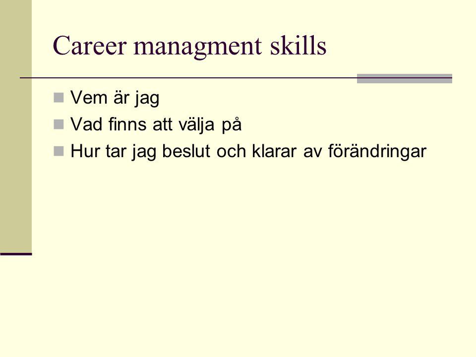 Career managment skills Vem är jag Vad finns att välja på Hur tar jag beslut och klarar av förändringar