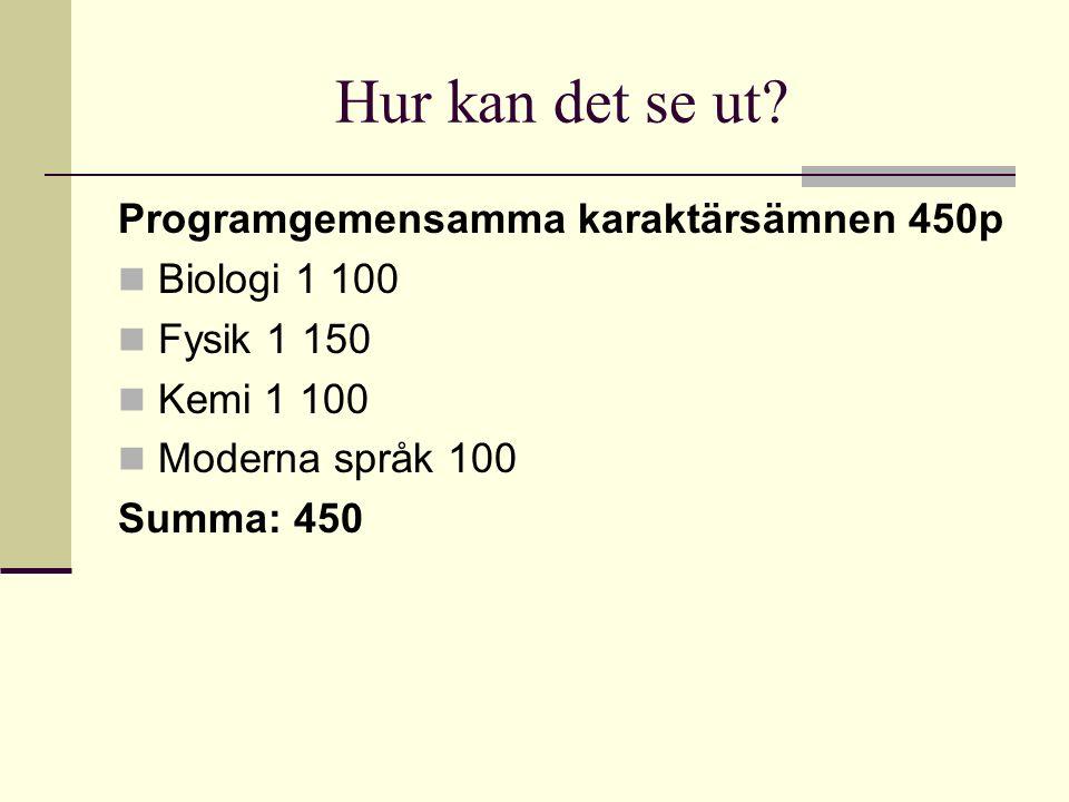 Hur kan det se ut? Programgemensamma karaktärsämnen 450p Biologi 1 100 Fysik 1 150 Kemi 1 100 Moderna språk 100 Summa: 450