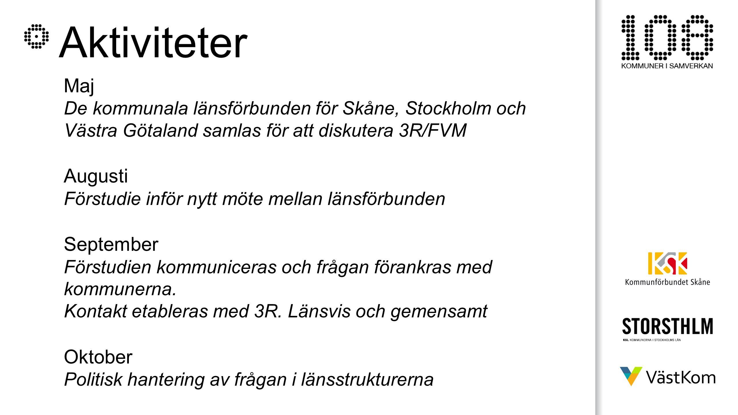 Aktiviteter Maj De kommunala länsförbunden för Skåne, Stockholm och Västra Götaland samlas för att diskutera 3R/FVM Augusti Förstudie inför nytt möte