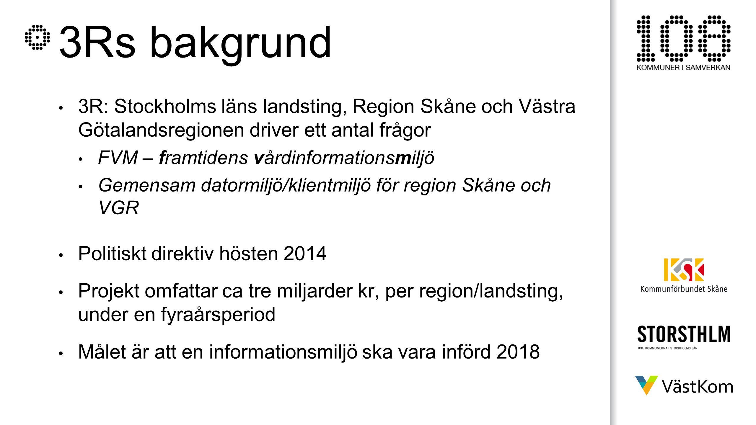3Rs bakgrund 3R: Stockholms läns landsting, Region Skåne och Västra Götalandsregionen driver ett antal frågor FVM – framtidens vårdinformationsmiljö G