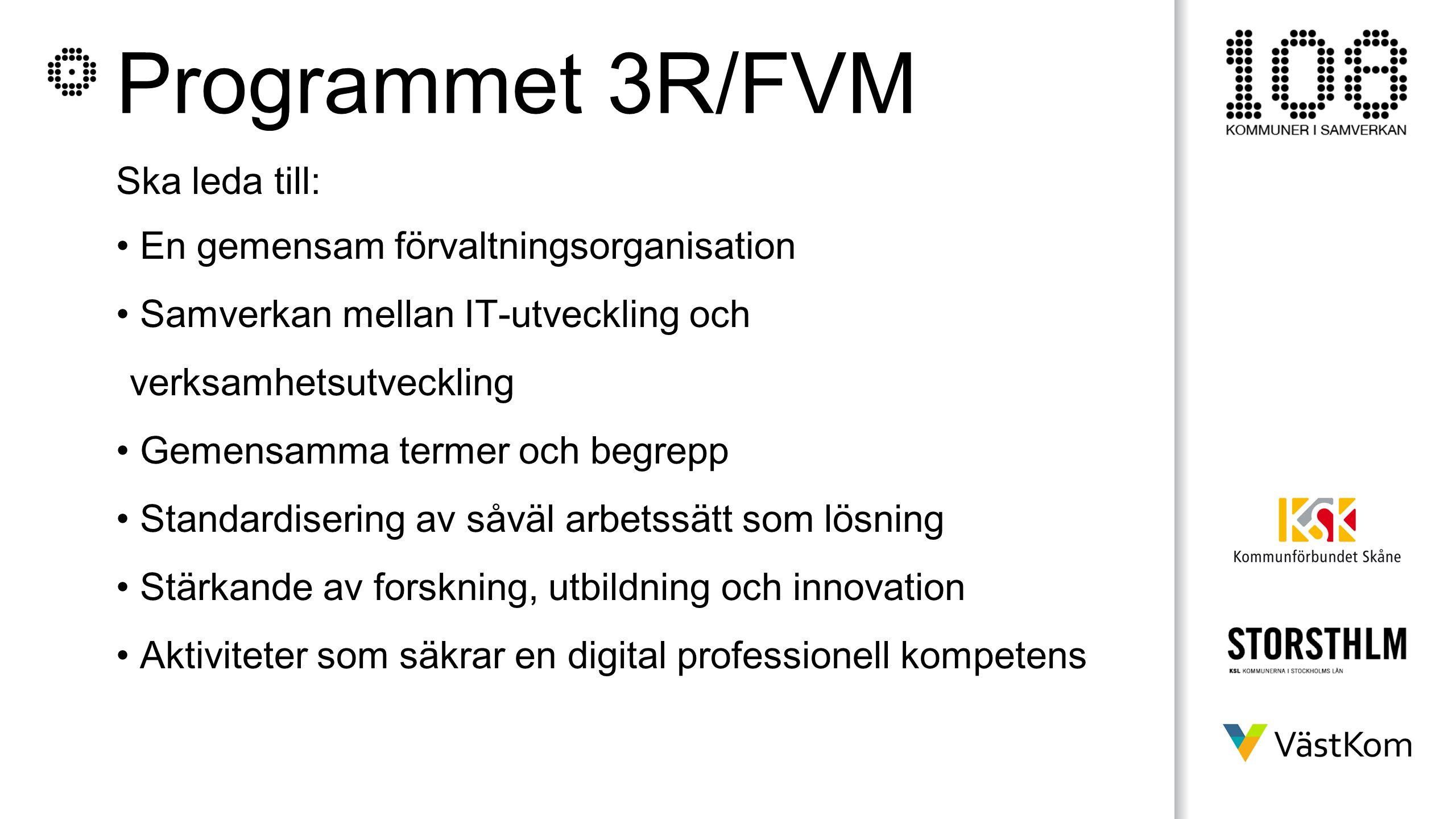 Programmet 3R/FVM Ska leda till: En gemensam förvaltningsorganisation Samverkan mellan IT-utveckling och verksamhetsutveckling Gemensamma termer och b
