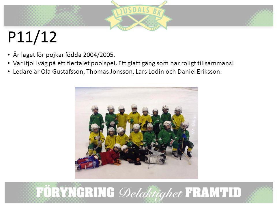 P11/12 Är laget för pojkar födda 2004/2005. Var ifjol iväg på ett flertalet poolspel.