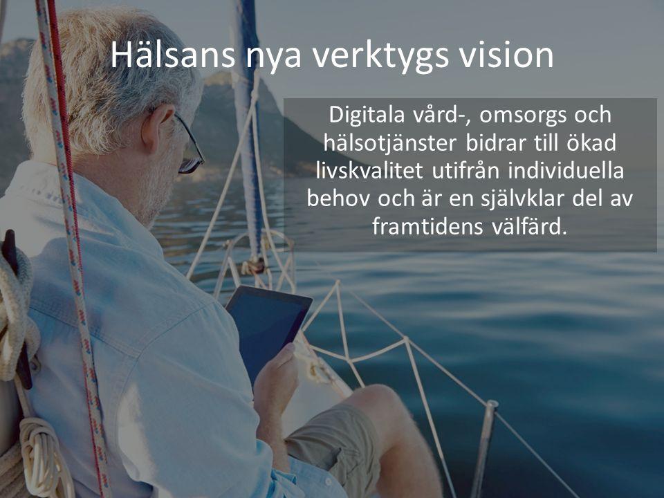 Hälsans nya verktygs vision Digitala vård-, omsorgs och hälsotjänster bidrar till ökad livskvalitet utifrån individuella behov och är en självklar del av framtidens välfärd.
