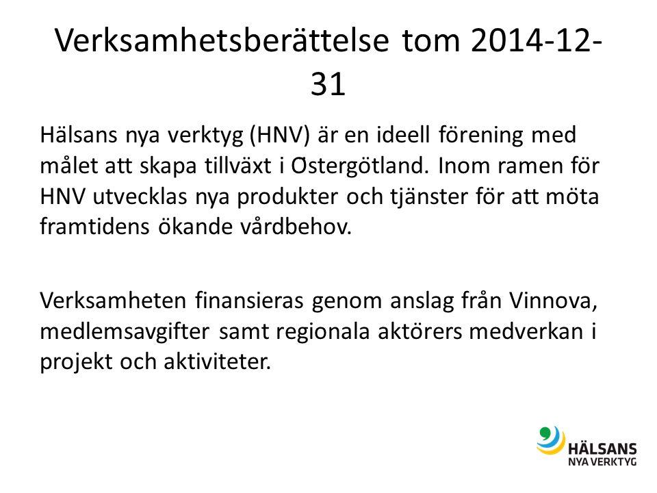 Verksamhetsberättelse tom 2014-12- 31 Hälsans nya verktyg (HNV) är en ideell förening med målet att skapa tillväxt i Östergötland.