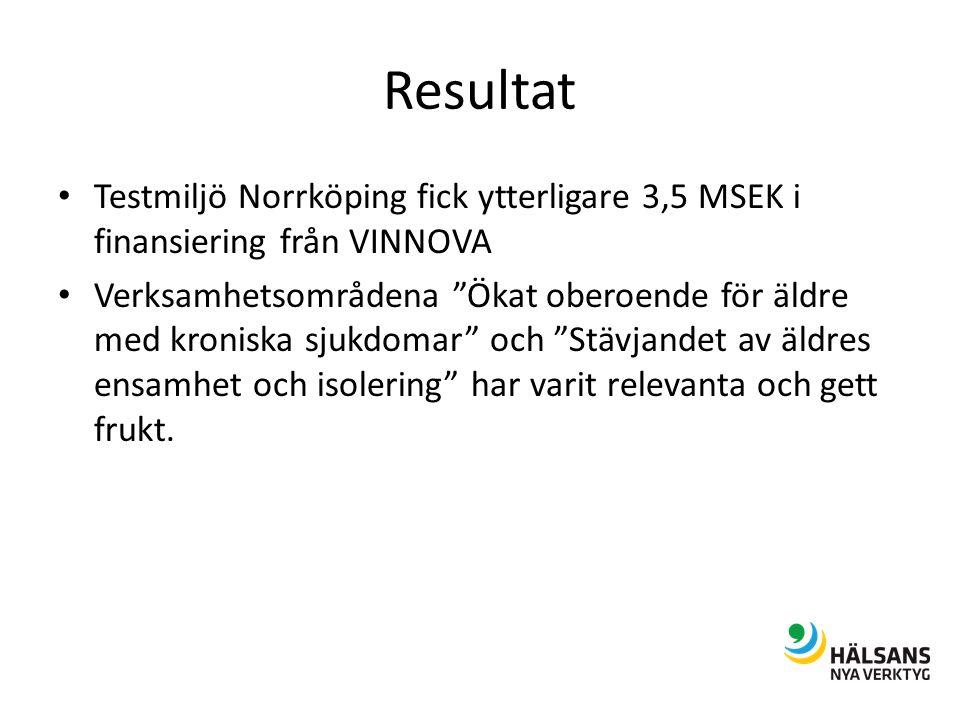 Resultat Testmiljö Norrköping fick ytterligare 3,5 MSEK i finansiering från VINNOVA Verksamhetsområdena Ökat oberoende för äldre med kroniska sjukdomar och Stävjandet av äldres ensamhet och isolering har varit relevanta och gett frukt.