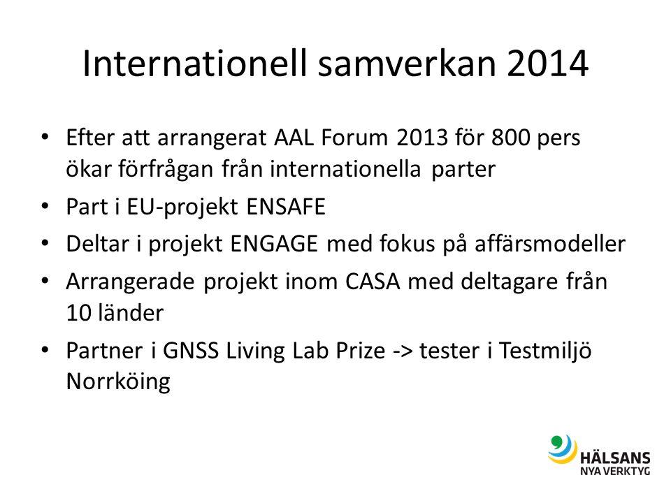 Internationell samverkan 2014 Efter att arrangerat AAL Forum 2013 för 800 pers ökar förfrågan från internationella parter Part i EU-projekt ENSAFE Deltar i projekt ENGAGE med fokus på affärsmodeller Arrangerade projekt inom CASA med deltagare från 10 länder Partner i GNSS Living Lab Prize -> tester i Testmiljö Norrköing