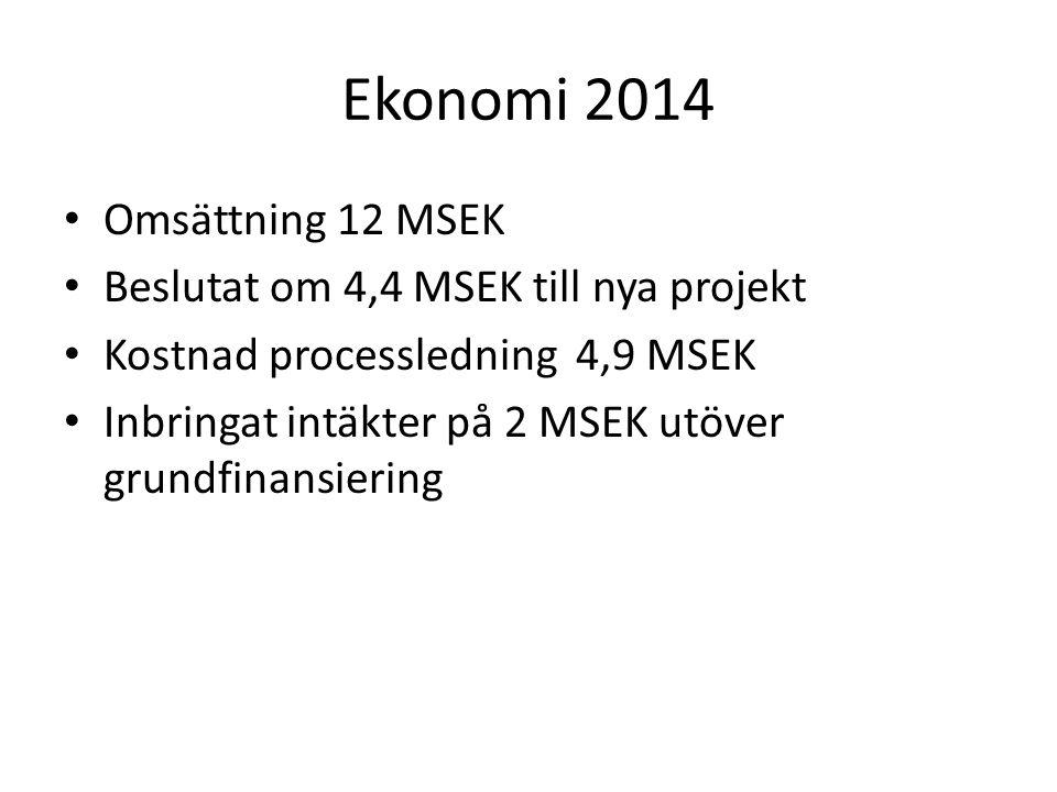 Ekonomi 2014 Omsättning 12 MSEK Beslutat om 4,4 MSEK till nya projekt Kostnad processledning 4,9 MSEK Inbringat intäkter på 2 MSEK utöver grundfinansiering