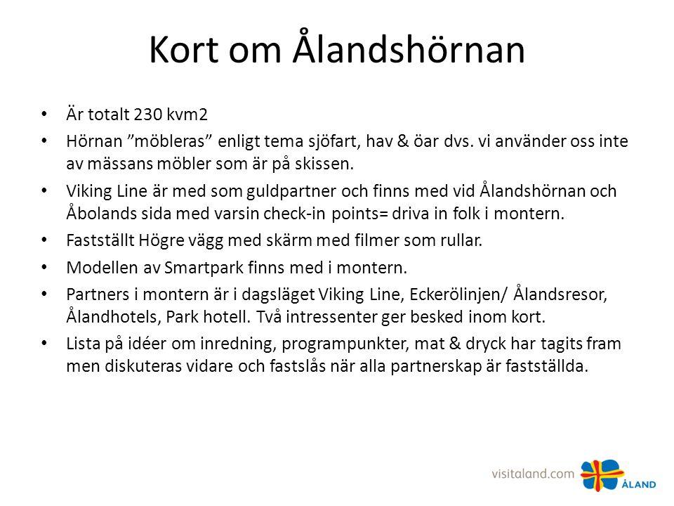 Kort om Ålandshörnan Är totalt 230 kvm2 Hörnan möbleras enligt tema sjöfart, hav & öar dvs.