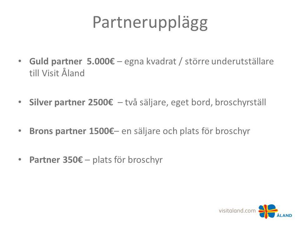 Partnerupplägg Guld partner 5.000€ – egna kvadrat / större underutställare till Visit Åland Silver partner 2500€ – två säljare, eget bord, broschyrställ Brons partner 1500€– en säljare och plats för broschyr Partner 350€ – plats för broschyr