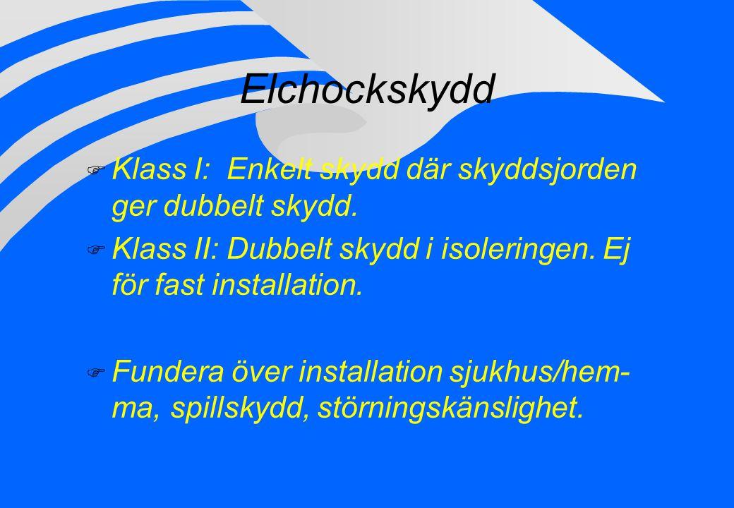 Elchockskydd F Klass I: Enkelt skydd där skyddsjorden ger dubbelt skydd. F Klass II: Dubbelt skydd i isoleringen. Ej för fast installation. F Fundera