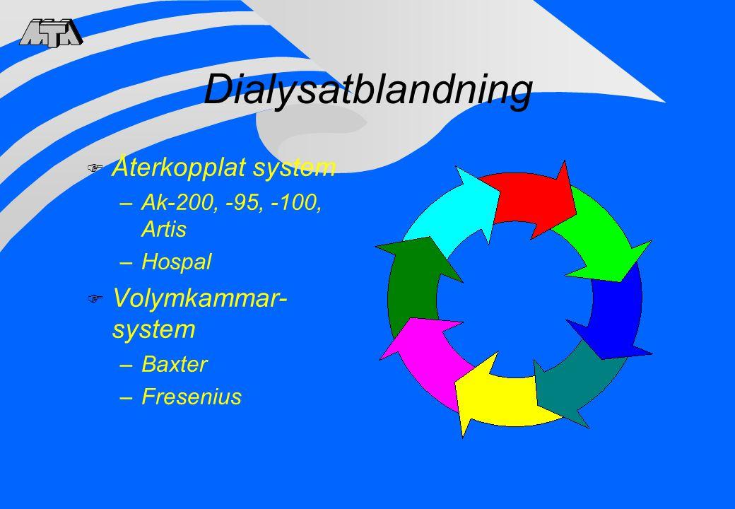 Dialysatblandning F Återkopplat system –Ak-200, -95, -100, Artis –Hospal F Volymkammar- system –Baxter –Fresenius