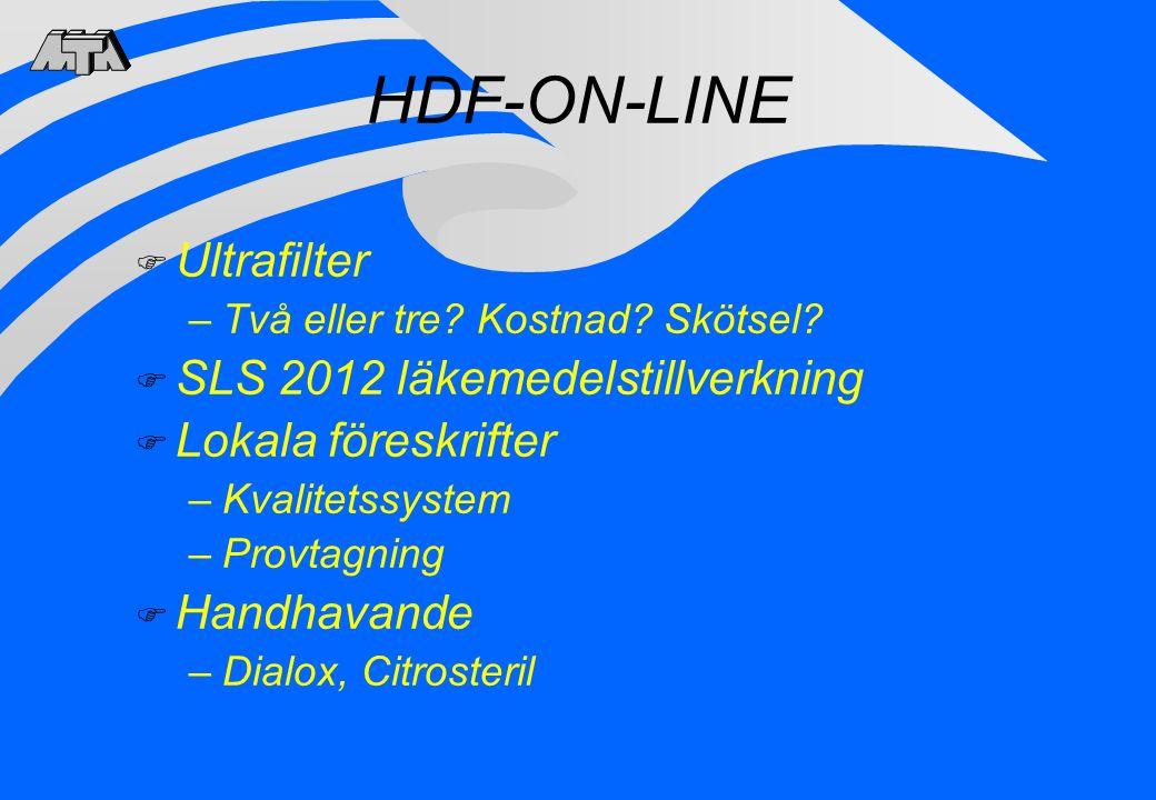 HDF-ON-LINE F Ultrafilter –Två eller tre? Kostnad? Skötsel? F SLS 2012 läkemedelstillverkning F Lokala föreskrifter –Kvalitetssystem –Provtagning F Ha