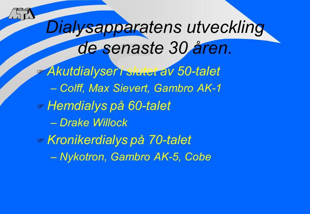Dialysapparatens utveckling de senaste 30 åren. F Akutdialyser i slutet av 50-talet –Colff, Max Sievert, Gambro AK-1 F Hemdialys på 60-talet –Drake Wi
