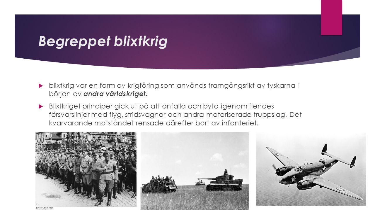 Begreppet blixtkrig  blixtkrig var en form av krigföring som används framgångsrikt av tyskarna i början av andra världskriget.  Blixtkriget principe