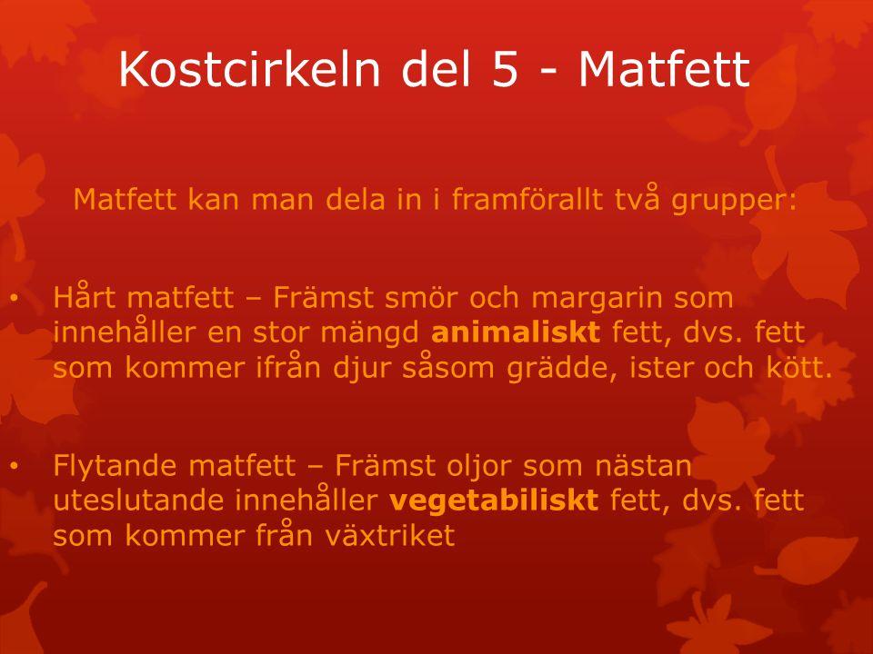 Kostcirkeln del 5 - Matfett Matfett kan man dela in i framförallt två grupper: Hårt matfett – Främst smör och margarin som innehåller en stor mängd animaliskt fett, dvs.